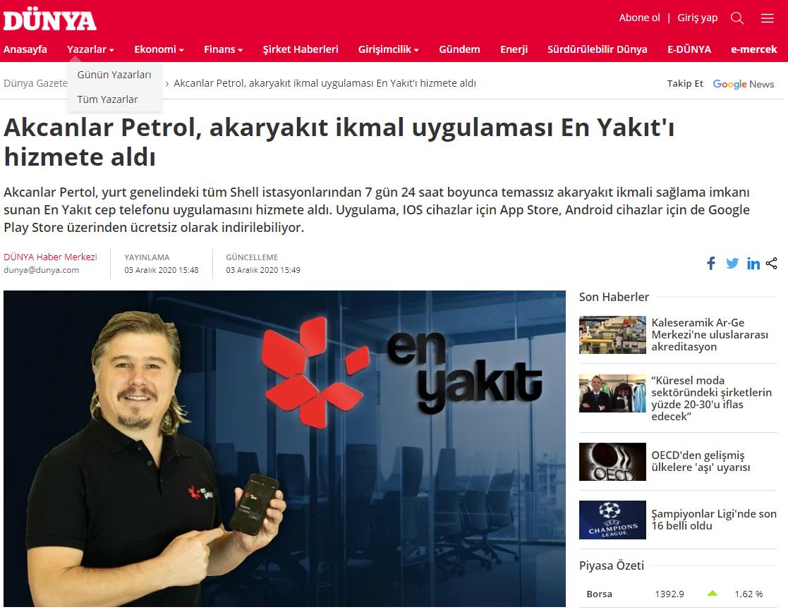 Akcanlar Petrol, akaryakıt ikmal uygulaması En Yakıt'ı hizmete aldı